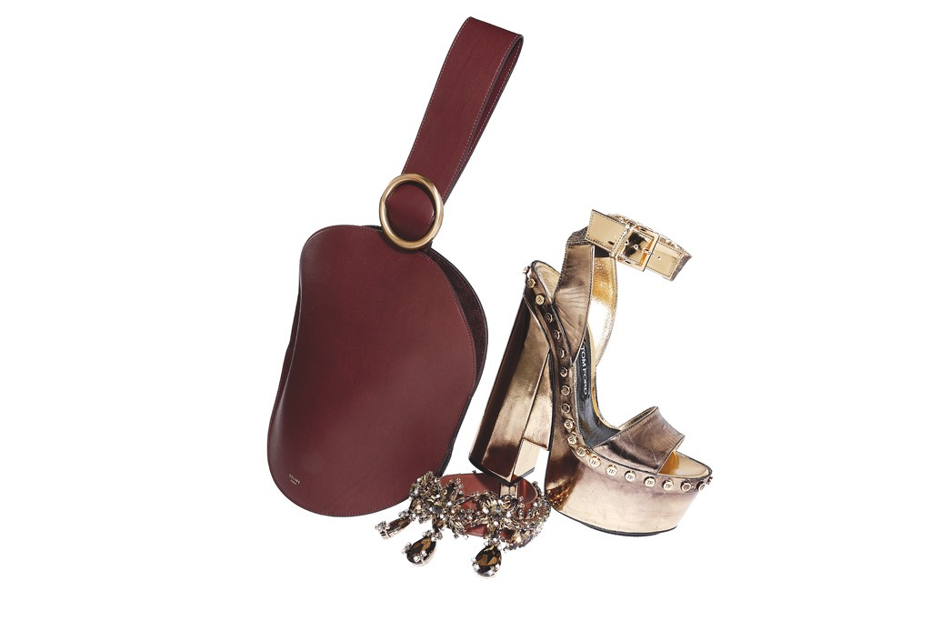 Céline's calfskin bag with suede lining; Givenchy's calf leather, crystal strass, pearl and metal brass choker and Tom Ford's leather platform sandal.