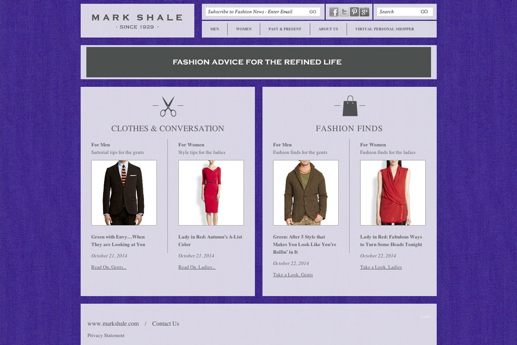The homepage of the site, which offers personal shopping.