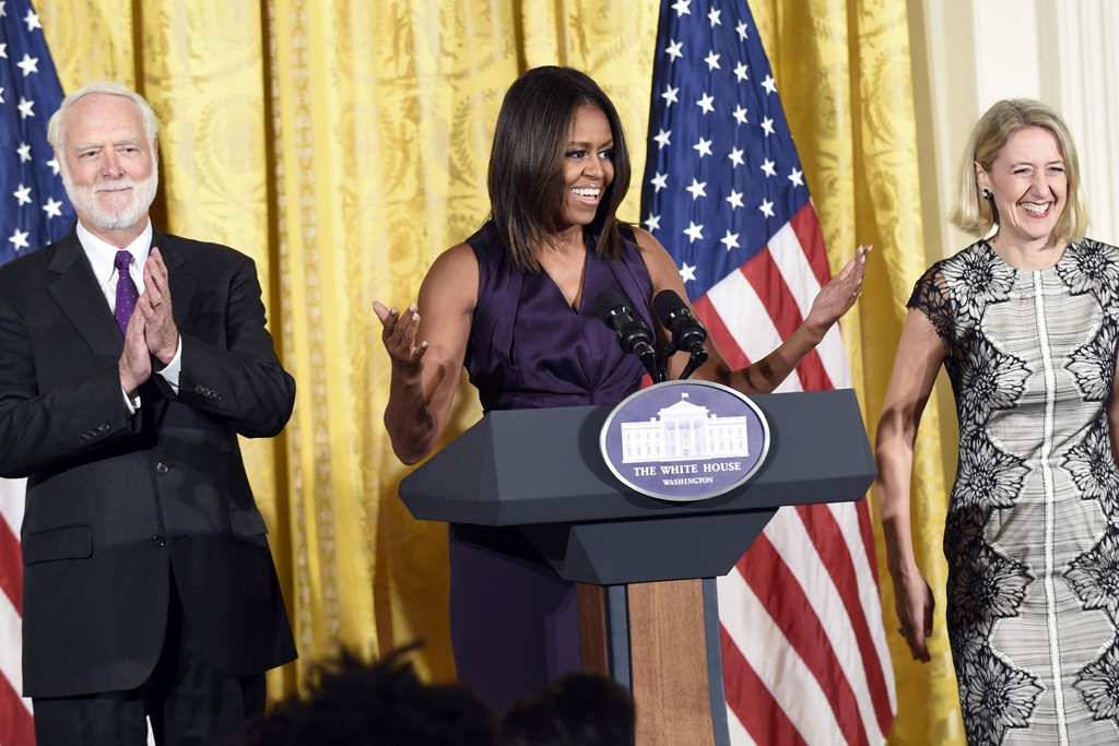 Michele Obama is flanked by Wayne Clough, secretary of the Smithsonian Institution  and Caroline Baumann, director of Cooper Hewitt Design Museum, at the National Design Awards luncheon.