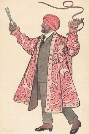 An illustration of Paul Poiret by Adrien Barrère.