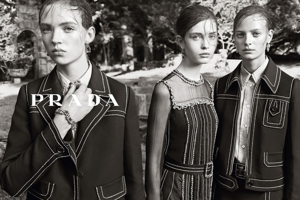 A still from the Prada campaign shot by Steven Meisel.