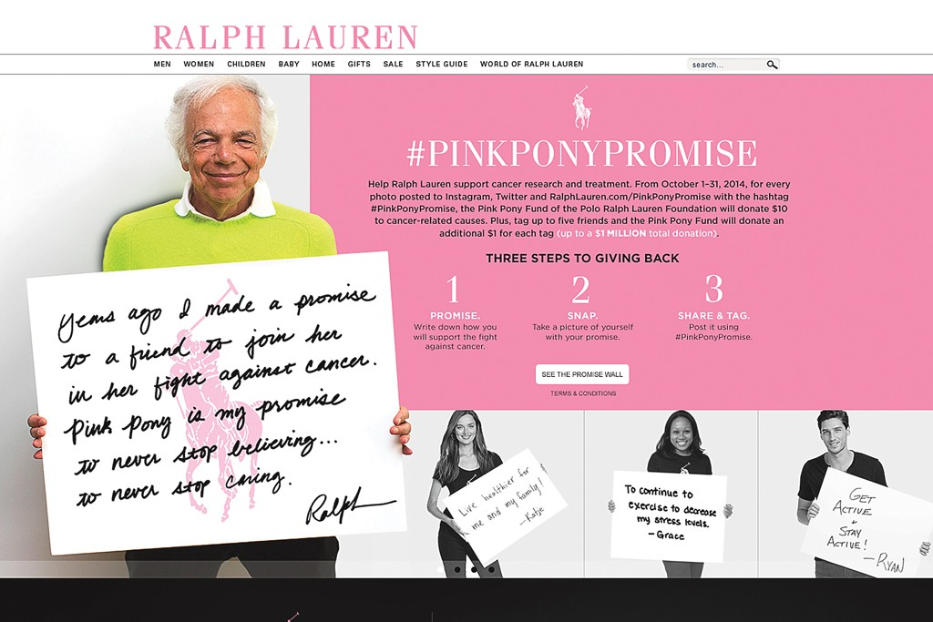 Ralph Lauren is tapping into social-media fans for the Pink Pony Fund.