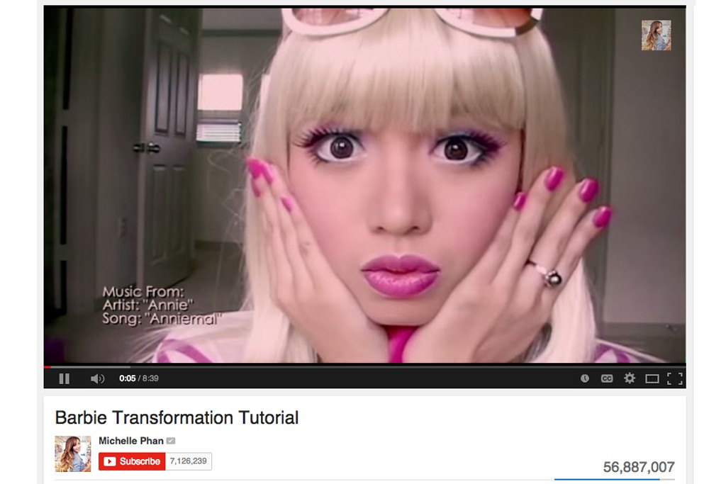 Michelle Phan's Barbie Transformation Tutorial has garnered over 56 million, becoming the most watched makeup tutorial on YouTube of all time.