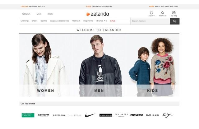 The Zalando website
