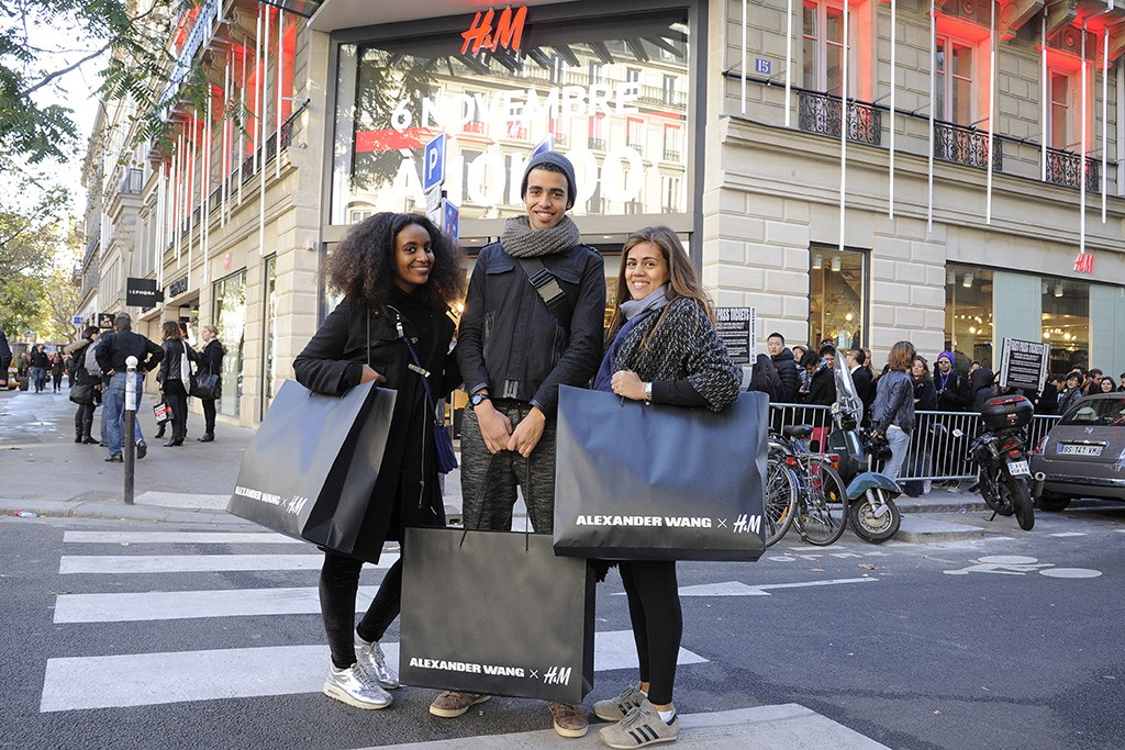 Shoppers outside the H&M flagship store on Boulevard Saint-Germain in Paris