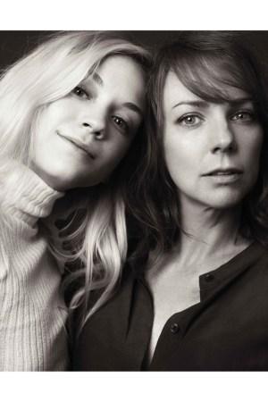 Emily Kinney with her friend Sarah Litzsinger for Aritzia.