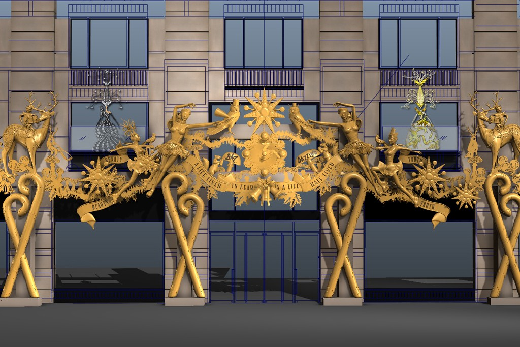 A rendering of Barneys New York's Madison Avenue façade replete with the two holiday queens.