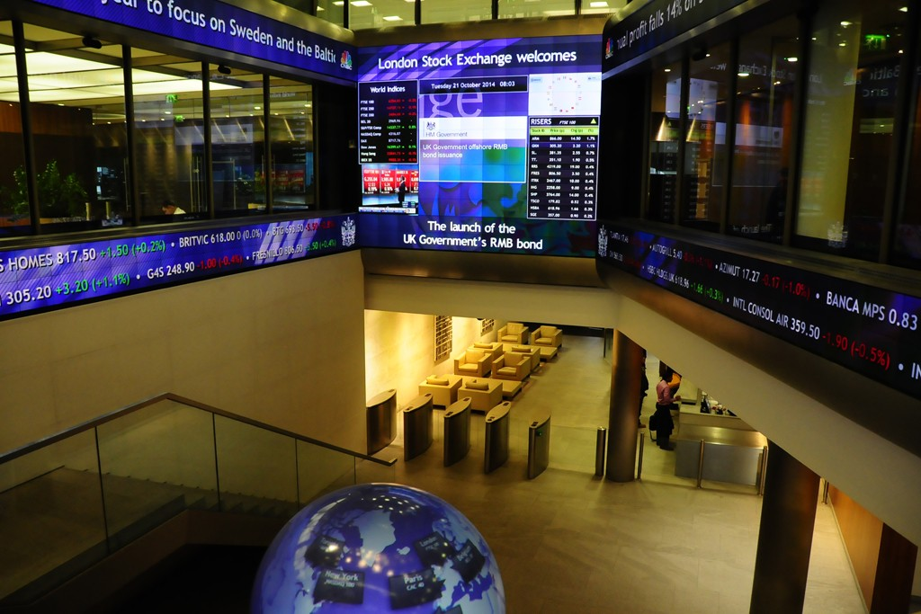 An interior view of the London Stock Exchange.