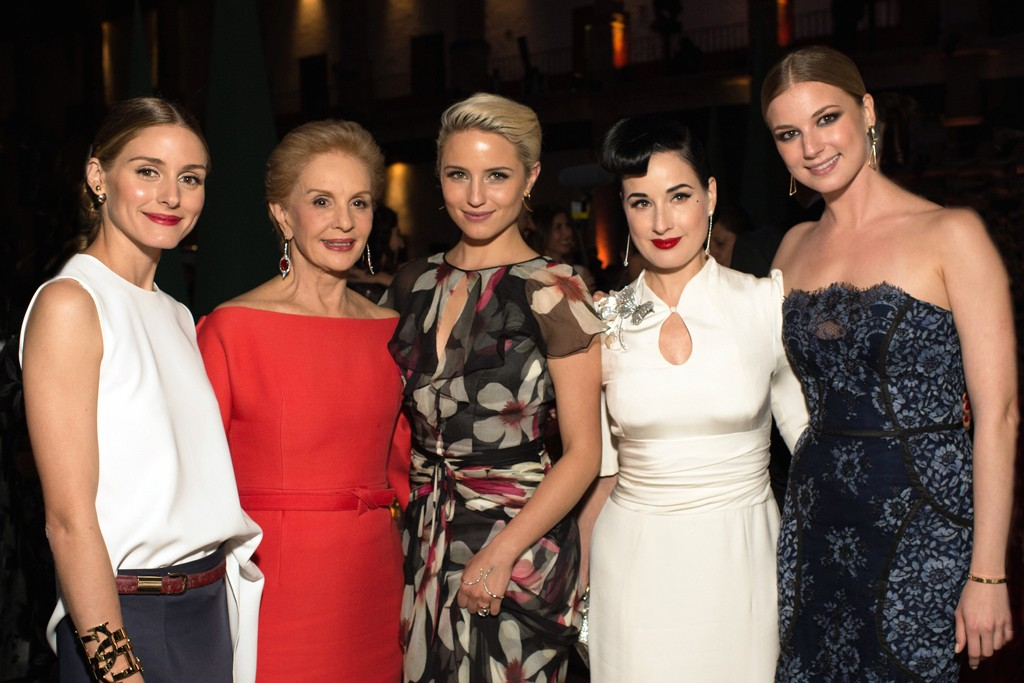 Olivia Palermo, Dianna Agron, Dita Von Teese and Emily VanCamp, all in Carolina Herrera with the designer.