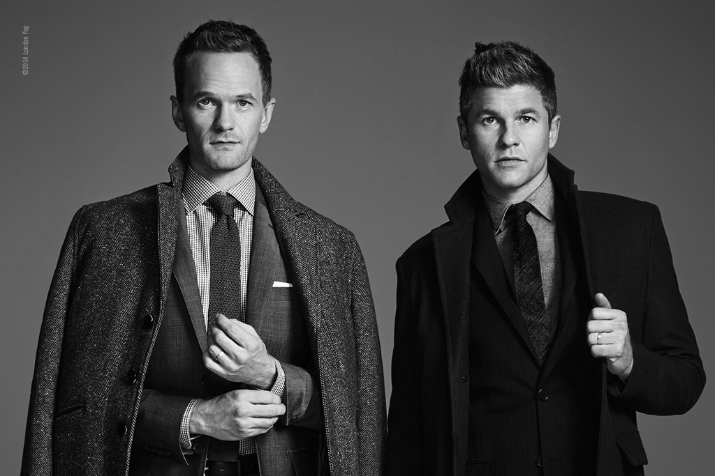 A campaign image for London Fog featuring Neil Patrick Harris and David Burtka.