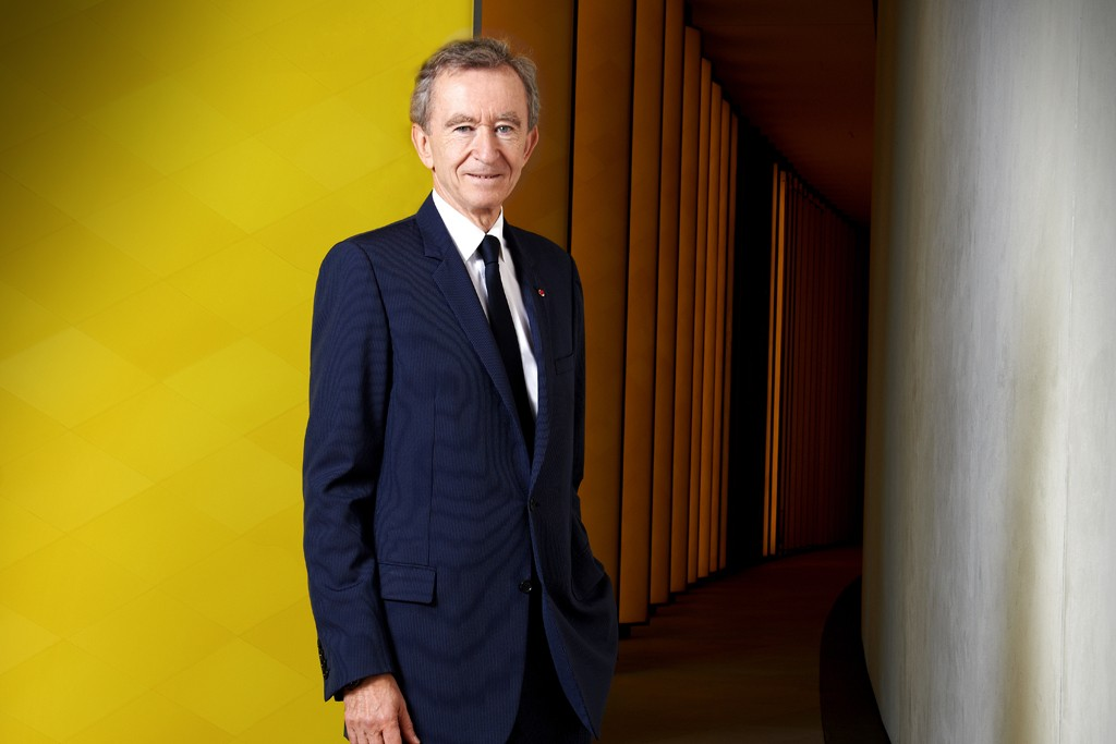 Bernard Arnault in the Hall of the Louis Vuitton Foundation.