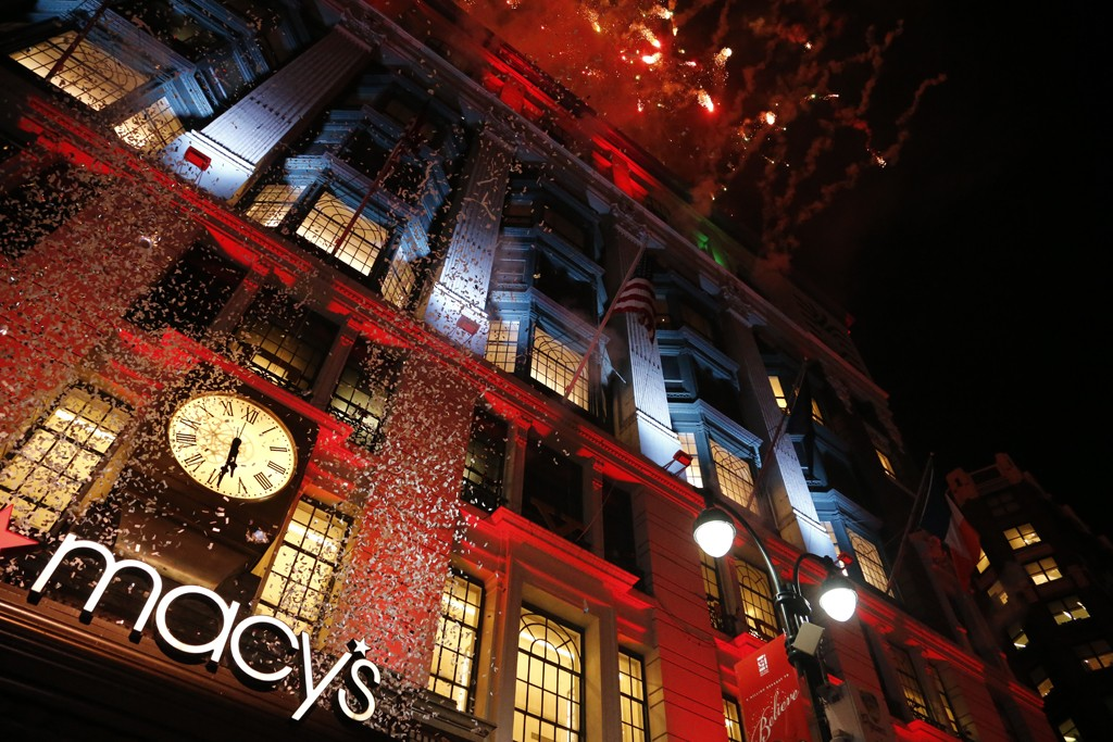Fireworks at the unveiling of Macy's holiday windows.