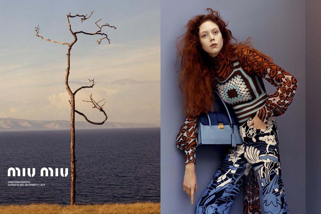 Model Natalie Westling poses for Miu Miu.