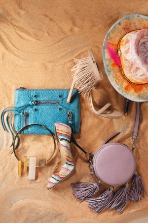 Clockwise from top right: Yestadt Millinery's straw hat; Rebecca Minkoff's leather bag; Paul Andrew's suede pump; Eddie Borgo's 14-karat gold-plated collar; Botkier New York's leather wristlet, and Stuart Weitzman's suede sandal.