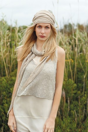 A linen knit tank over a silk dress, a linen scarf and a cotton scarf worn as a turban, all organic.