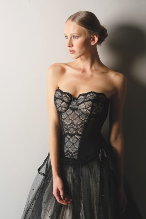 Blush's polyamide and elastane lace and point d'esprit bustier and Only Hearts' point d'esprit nylon tulle skirts; Dana Rebecca Designs earrings.