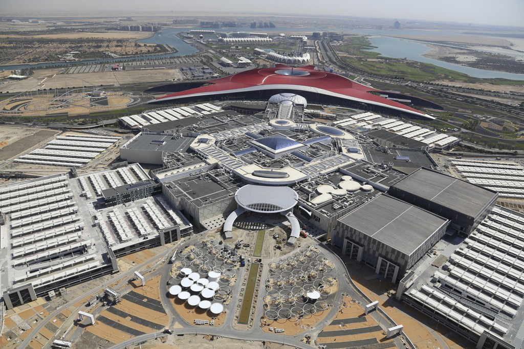 An aerial view of the Yas Mall in Abu Dhabi.
