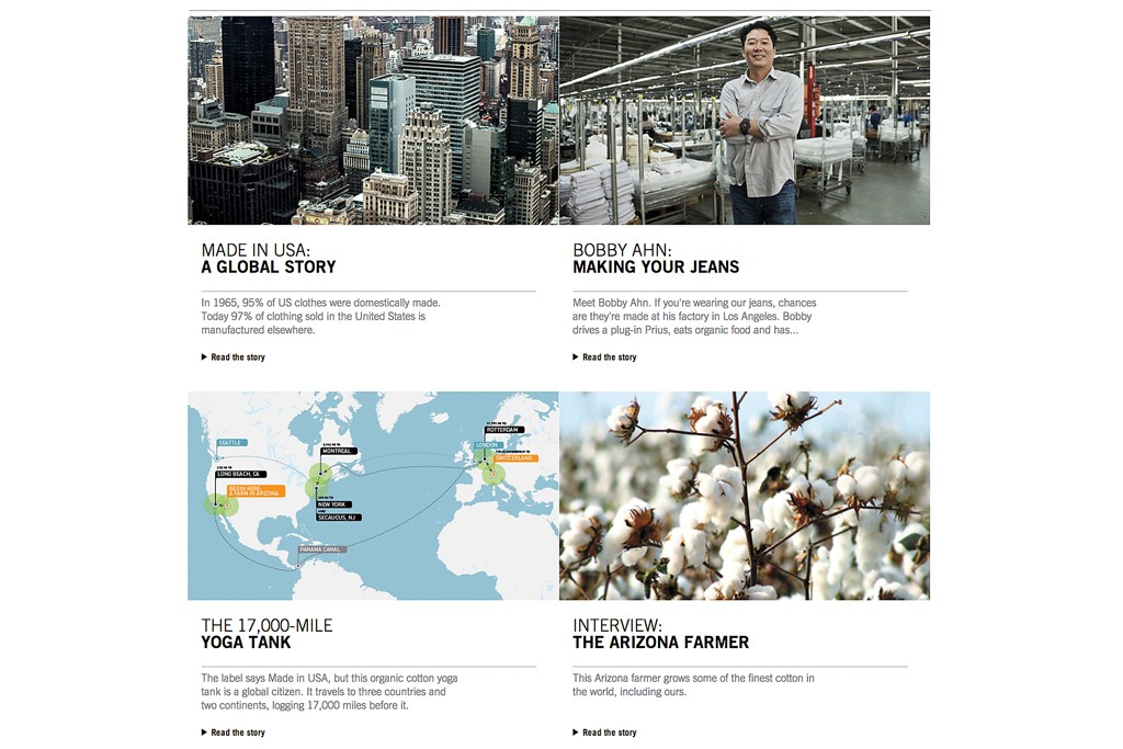 "The Web site's ""& Behind the Label"" section tells the story of the company's sourcing and sustainability."