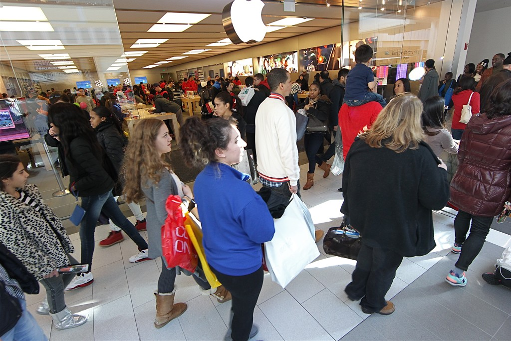 Shoppers on Black Friday at Roosevelt Field mall in New York.