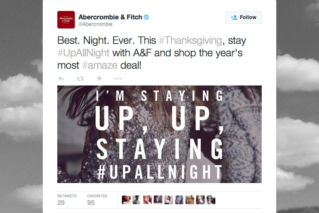 """Abercrombie & Fitch has bought real estate on Twitter's """"top trending topic."""""""