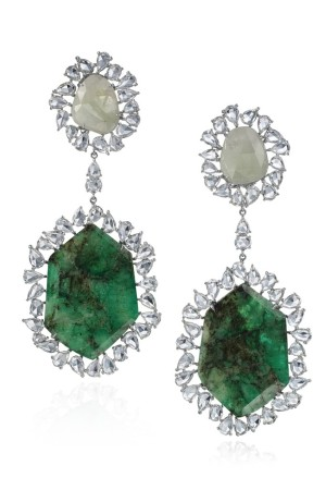 Nina Runsdorf's 57-carat sliced emerald and 44-carat white sapphire earrings.