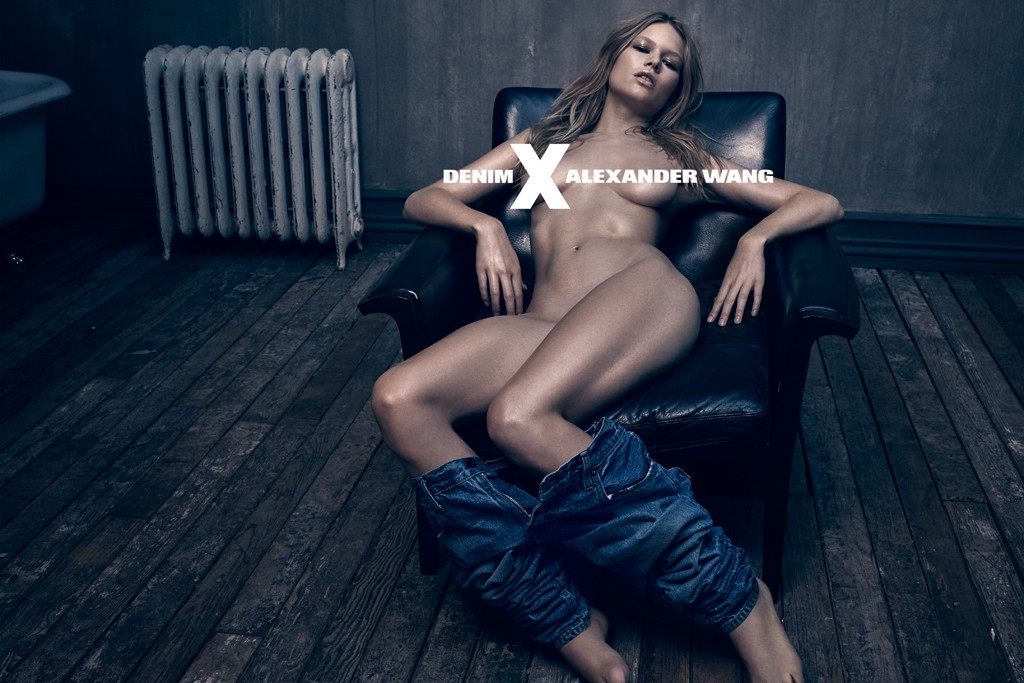 A visual from the Denim X Alexander Wang campaign shot by Steven Klein.
