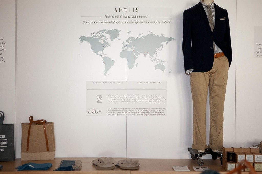 Apolis displays its B Corp certification badge next to its CFDA membership insignia in its L.A. store.