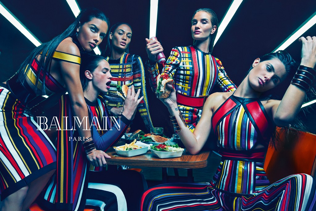 Balmain's spring campaign features a diverse range of models.