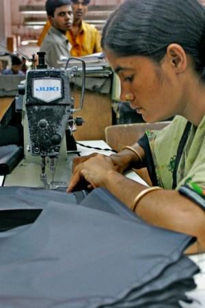 A worker at a factory in Ashulia, Bangladesh.
