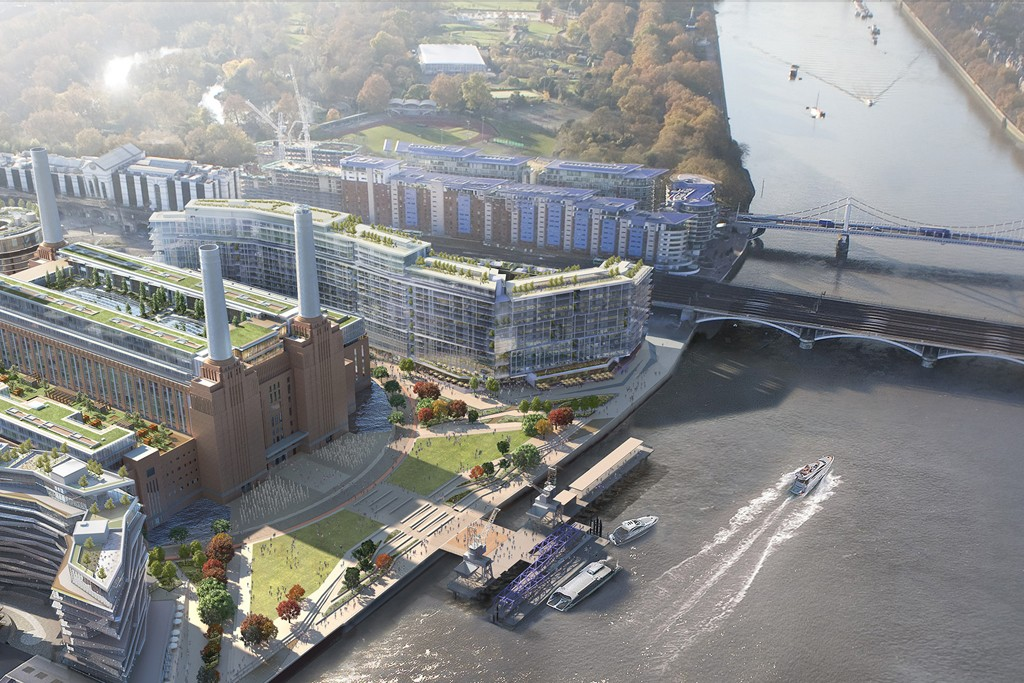 An aerial rendering of the Battersea Power Station Development in London.