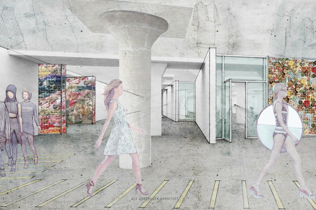 A rendering of the Manufacturing Innovation Hub for Apparel, Textiles & Wearable Tech.