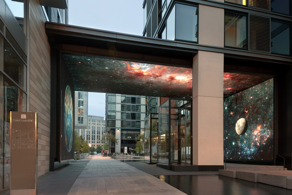 The Gateway to CityCenter, a 25-foot high digital art screen that serves as the entry to the entire development.