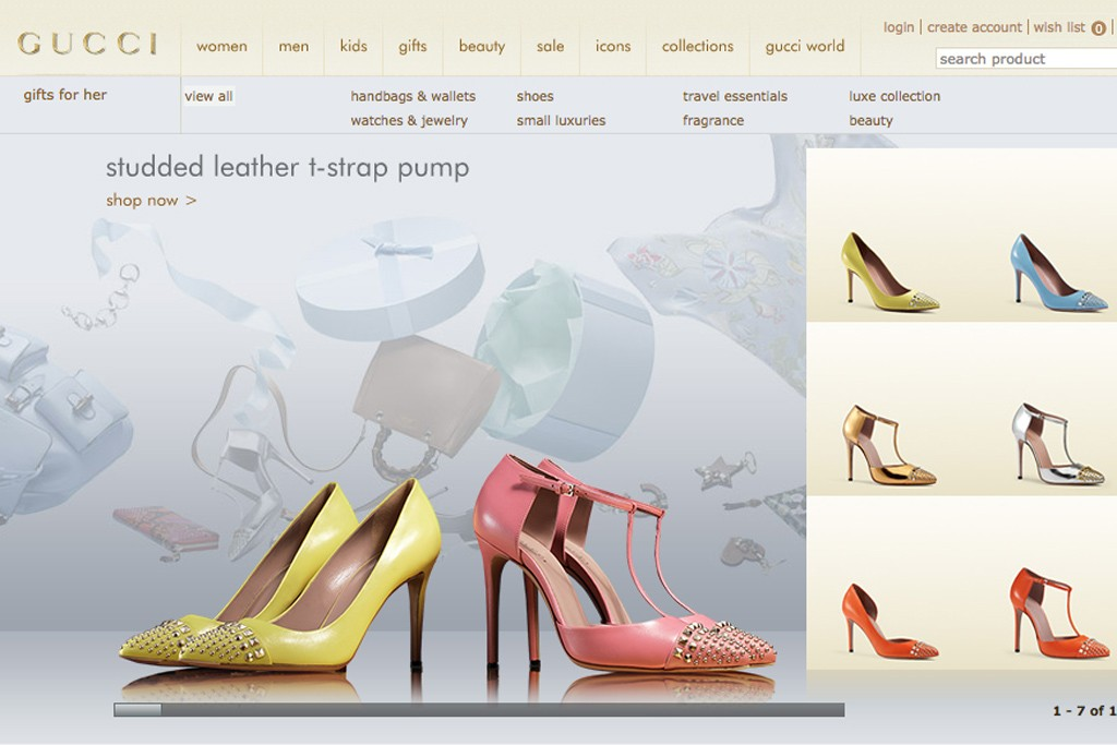 A view of the Gucci website.
