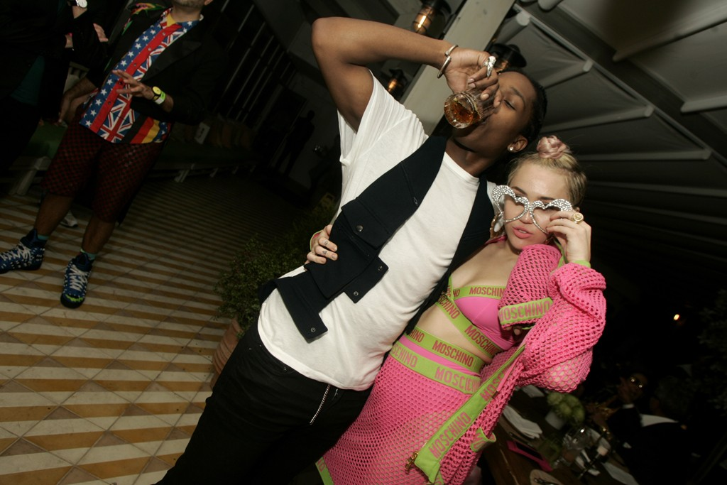 A$AP Rocky with Miley Cyrus in Moschino.