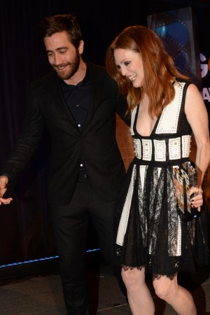 Jake Gyllenhaal with Julianne Moore in Givenchy.
