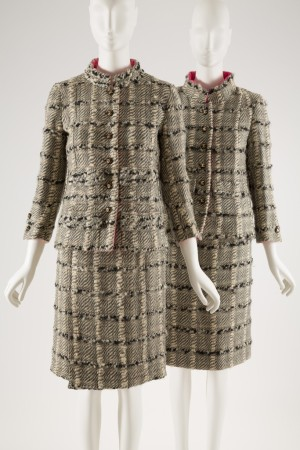 """From left to right: Gabrielle """"Coco"""" Chanel day suit, Licensed copy of a Chanel day suit."""