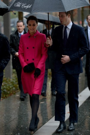 The Duke and Duchess of Cambridge, she in a Mulberry coat and Seraphine dress, visit the National September 11 Memorial & Museum.