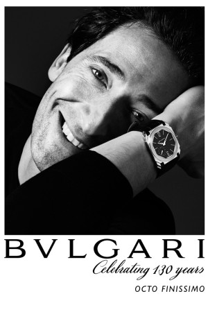 Adrien Brody in Bulgari's ad campaign for the Octo Finissimo watch.