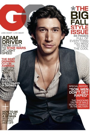 GQ featuring Adam Driver on its September cover.
