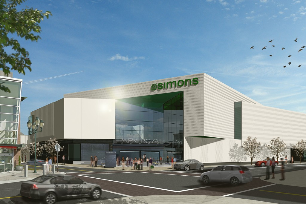 A rendering of the future Simons store in Vancouver.