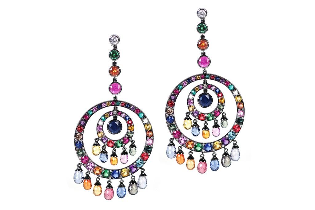 Nam Cho's ruby, emerald, multicolor sapphire, blue zircon, amethyst, tsavorite and diamond 18-karat white gold and black rhodium earrings.