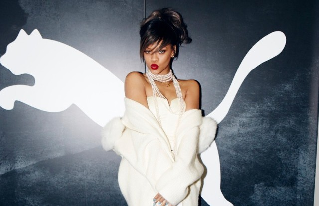 Rihanna in activewear and Puma crepe sole sneakers.