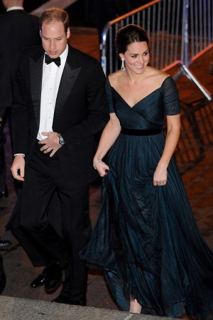 The Duke of Cambridge with the Duchess, wearing a Jenny Packham gown and Jimmy Choo shoes, arriving at the Metropolitan Museum of Art.