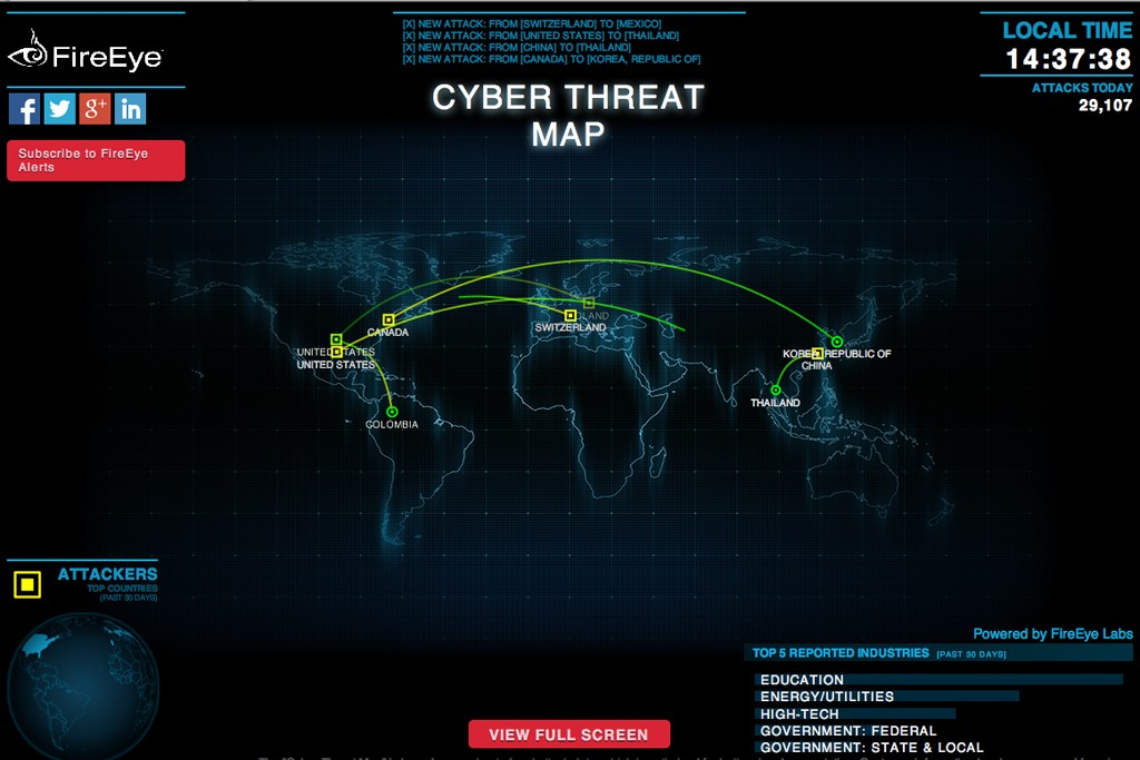 Security firm FireEye maps cyber attacks as they occur.