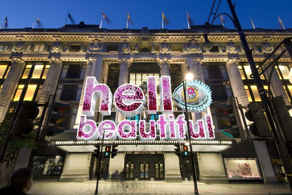 "Selfridges' storefront for the ""Hello Beautiful"" campaign."