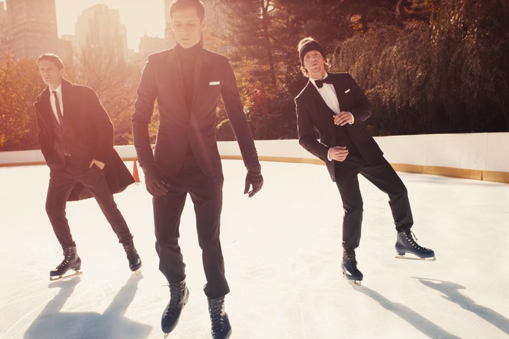 Hermès' coat, Gucci's tuxedo, and Ralph Lauren Black Label's shirt. Saint Laurent's tuxedo, Ralph Lauren Purple Label's turtleneck. Bottega Veneta gloves, and Calvin Klein watch; Dunhill's tuxedo, Dsquared's shirt, Brunello Cucinelli bow tie.