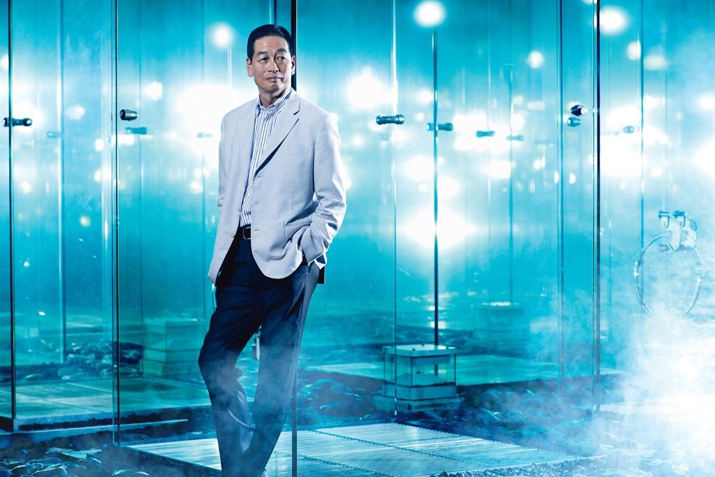 Masahiko Uotani at the entrance to Shiseido's corporate headquarters in Tokyo's Shiodome neighborhood.