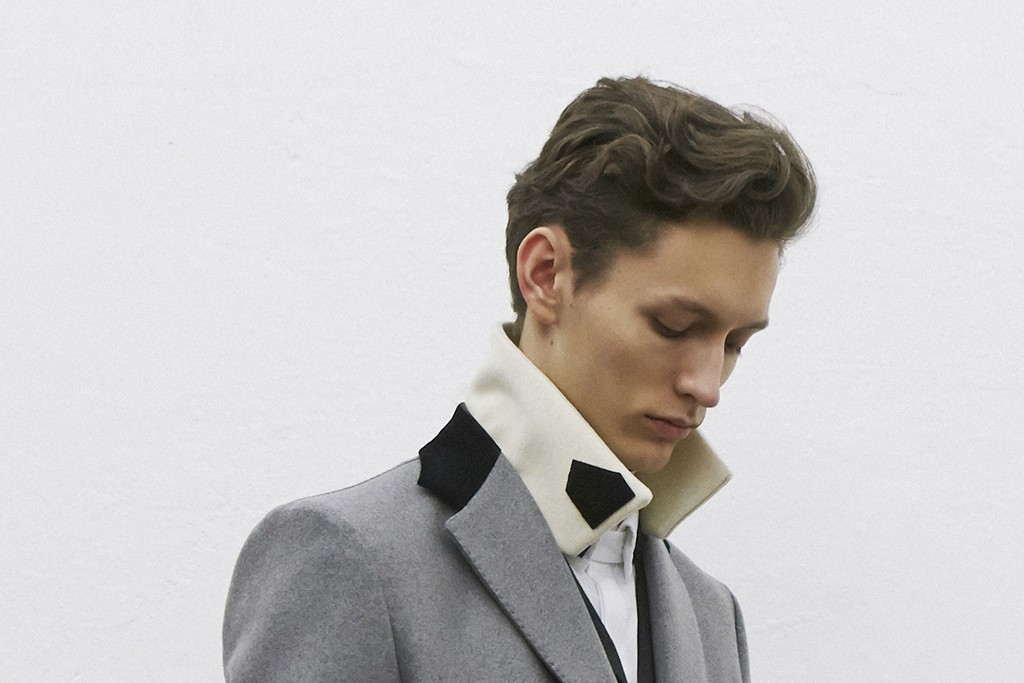"""""""Essential cuts and graphic details characterize the wardrobe of my FW '15-'16 man, a sophisticated aviator who transcends historical references through a minimalist, contemporary interpretation of his own identity."""" — Andrea Pompilio"""