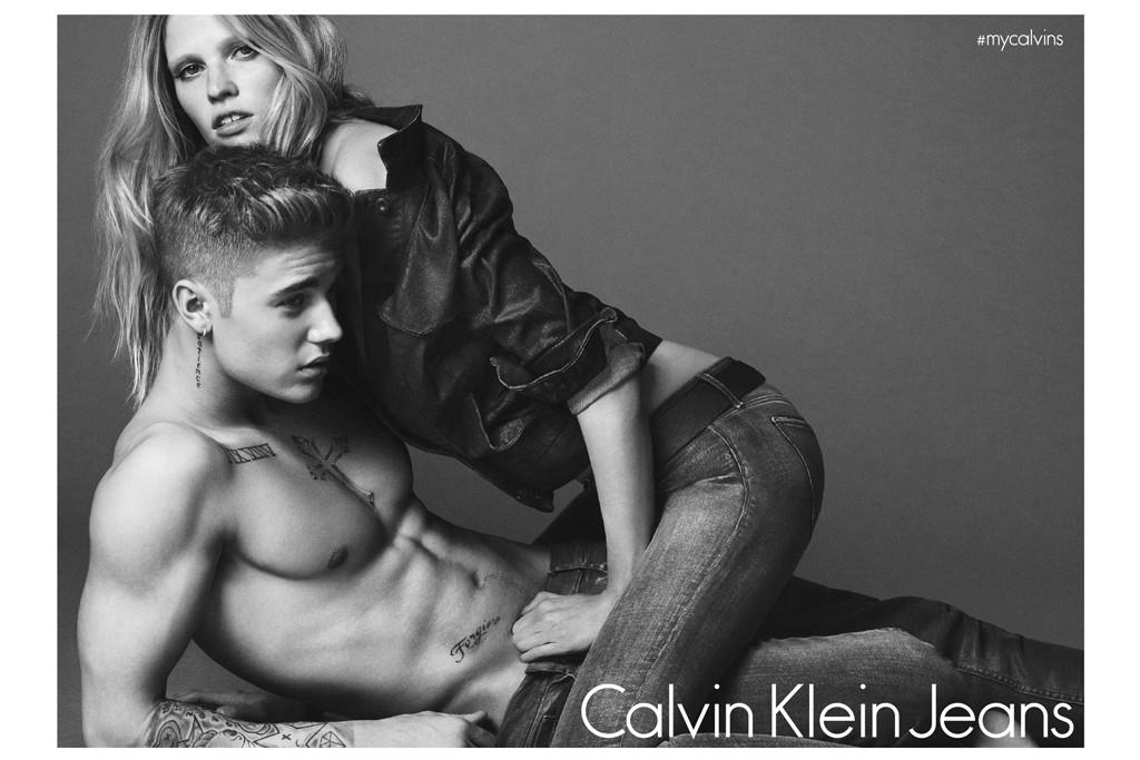 Justin Bieber and Lara Stone for Calvin Klein.