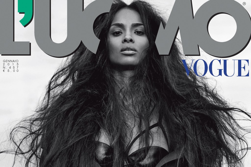 Ciara on the cover of January 2015 L'Uomo Vogue.